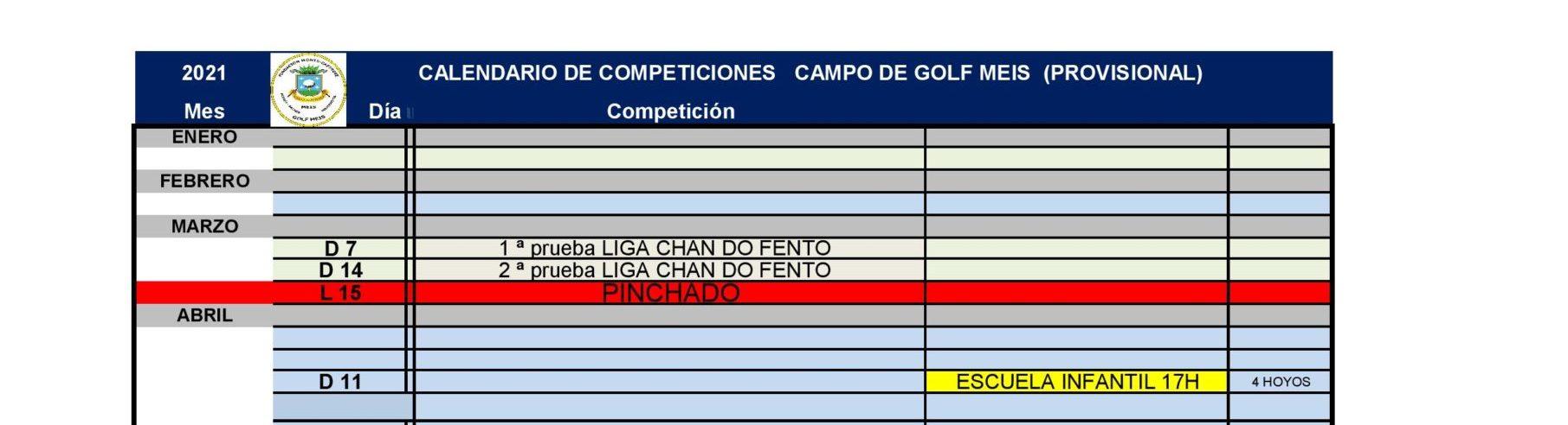 Calendario De Competiciones De 2021 – Campo De Golf De Meis